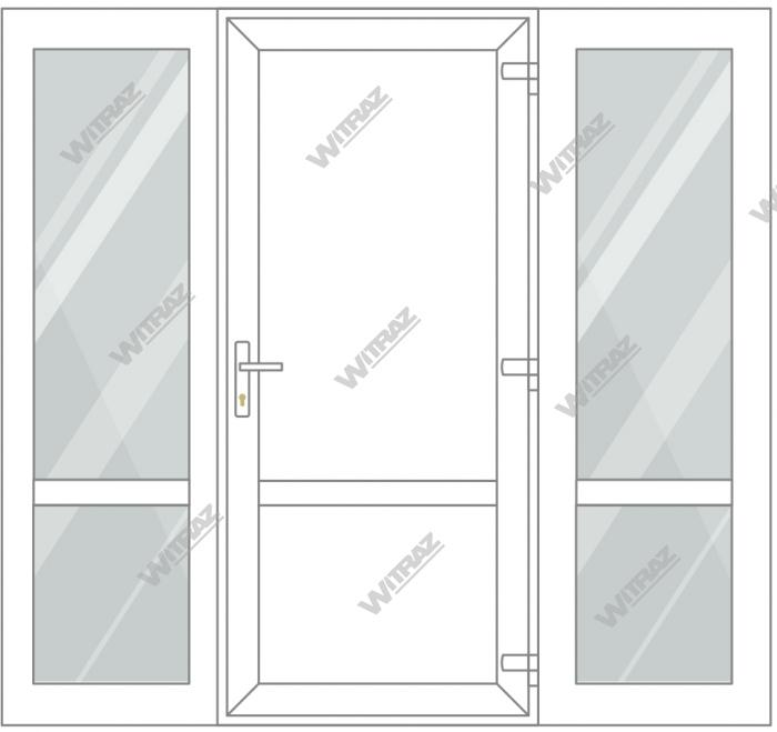 PVC entrance doors with 2 side windows - Door (PVC + PVC) + 2 Sides (glass + glass)