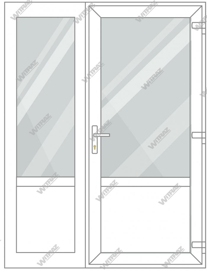PVC entrance doors with side window - Door (glass + PVC) + Side (glass + PVC)