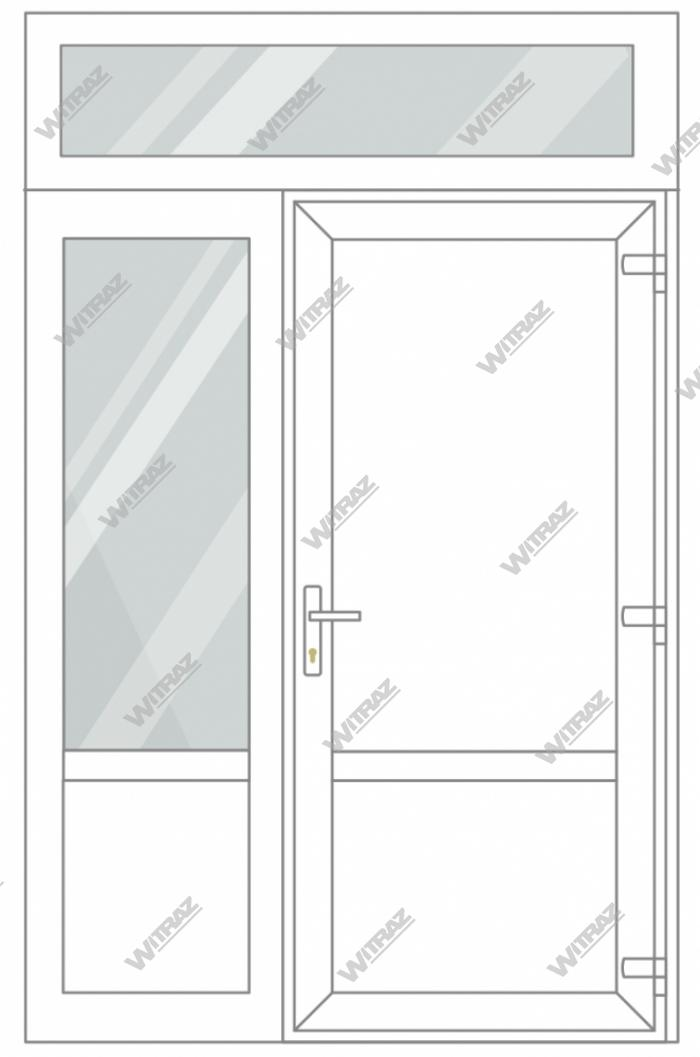 PVC entrance doors with 1 side and 1 top windows - Door (PVC + PVC) + Side (glass + PVC) + Upper window (glass)