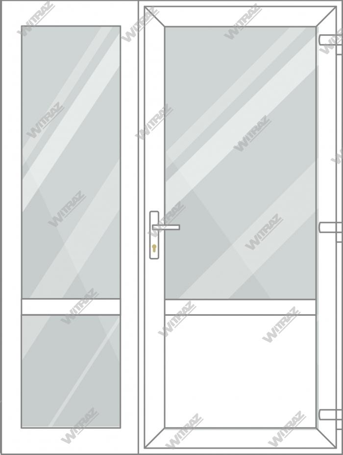 PVC entrance doors with side window - Door (glass + PVC) + Side (glass + glass)