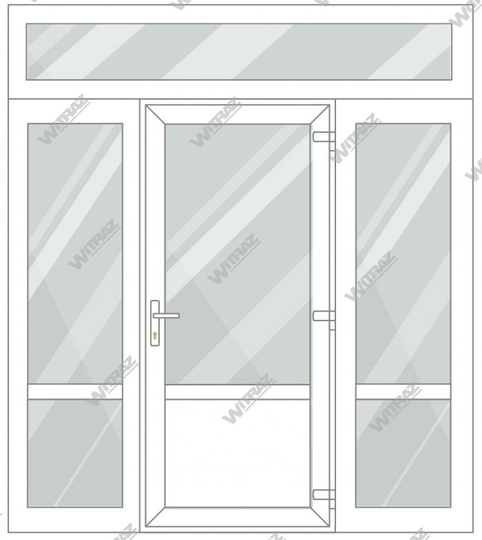 PVC entrance doors with 2 side and 1 top windows - Door (glass + PVC) + 2 Sides (glass + glass) + Upper window (glass)