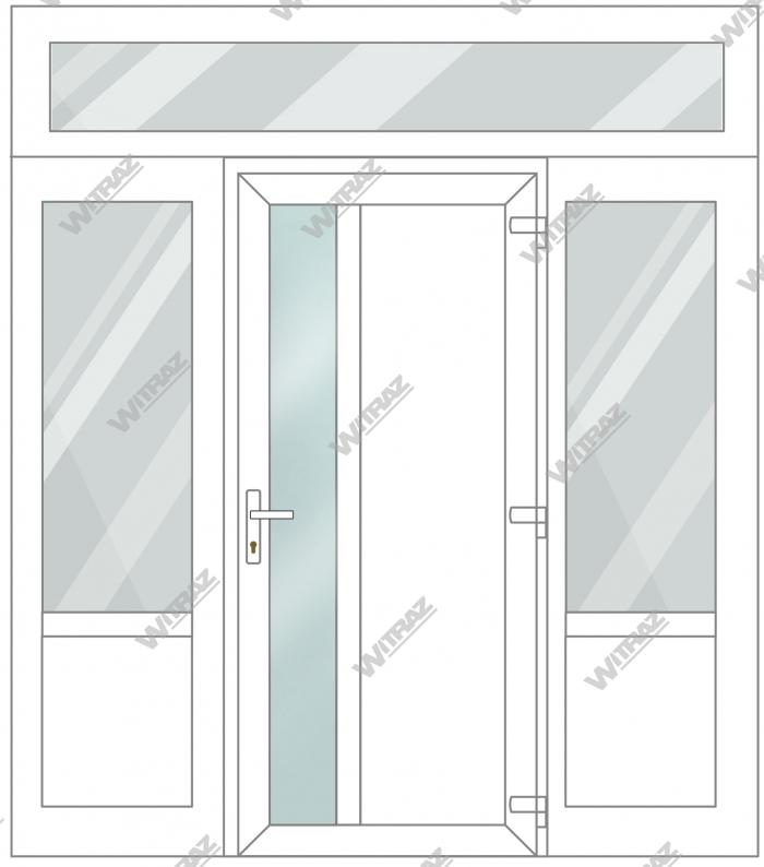 PVC entrance doors with 2 side and 1 top windows - Door (matte glass + PVC) + 2 Sides (glass + PVC) + Upper window (glass)