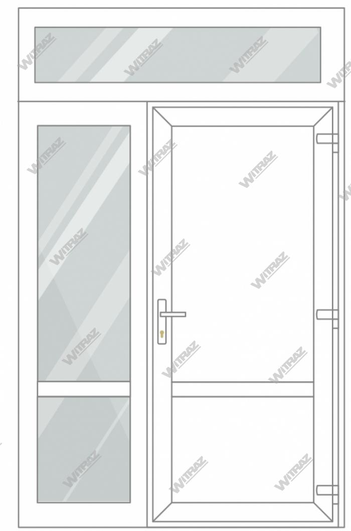 PVC entrance doors with 1 side and 1 top windows - Door (PVC + PVC) + Side (glass + glass) + Upper window (glass)