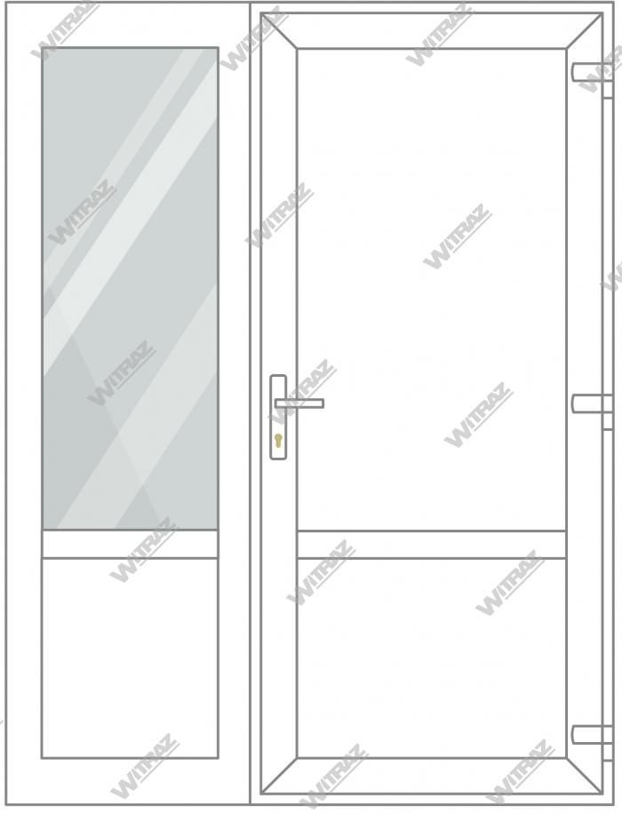 PVC entrance doors with side window - Door (PVC + PVC) + Side  (glass + PVC)