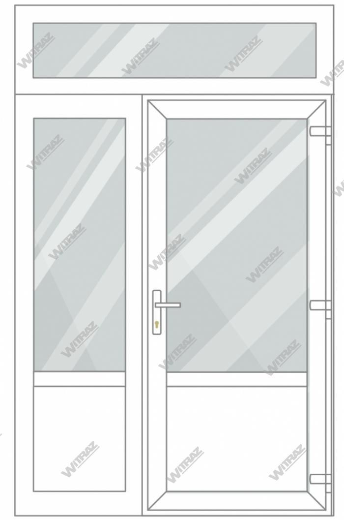 PVC entrance doors with 1 side and 1 top windows - Door (glass + PVC) + Side (glass + PVC) + Upper window (glass)