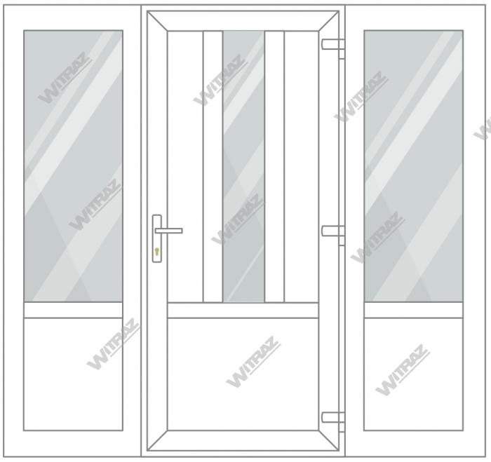 PVC entrance doors with 2 side windows - Door ((PVC + glass + PVC) + PVC)) + 2 Sides (glass + PVC)
