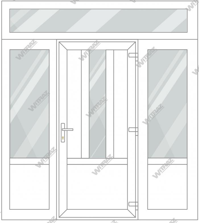 PVC entrance doors with 2 side and 1 top windows - Door ((PVC + glass + PVC) + PVC)) + 2 Sides (glass + PVC) + Upper window (glass)
