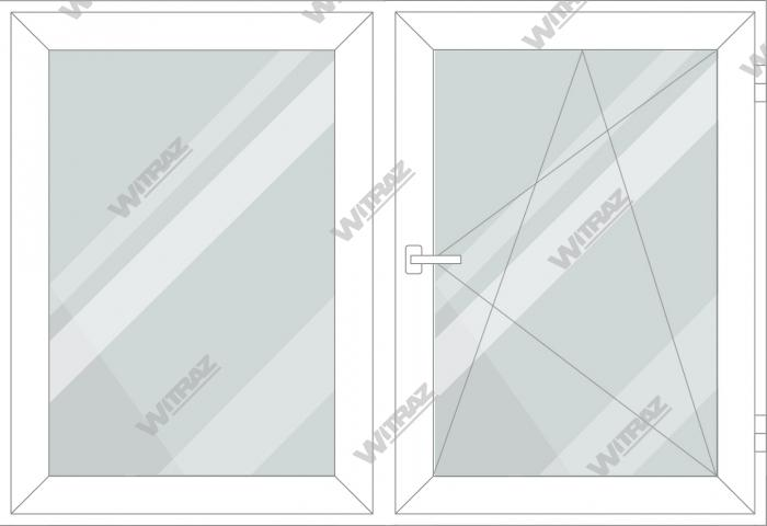Plastic windows in stock - Double-casement window, 1 sash opens in 3 positions