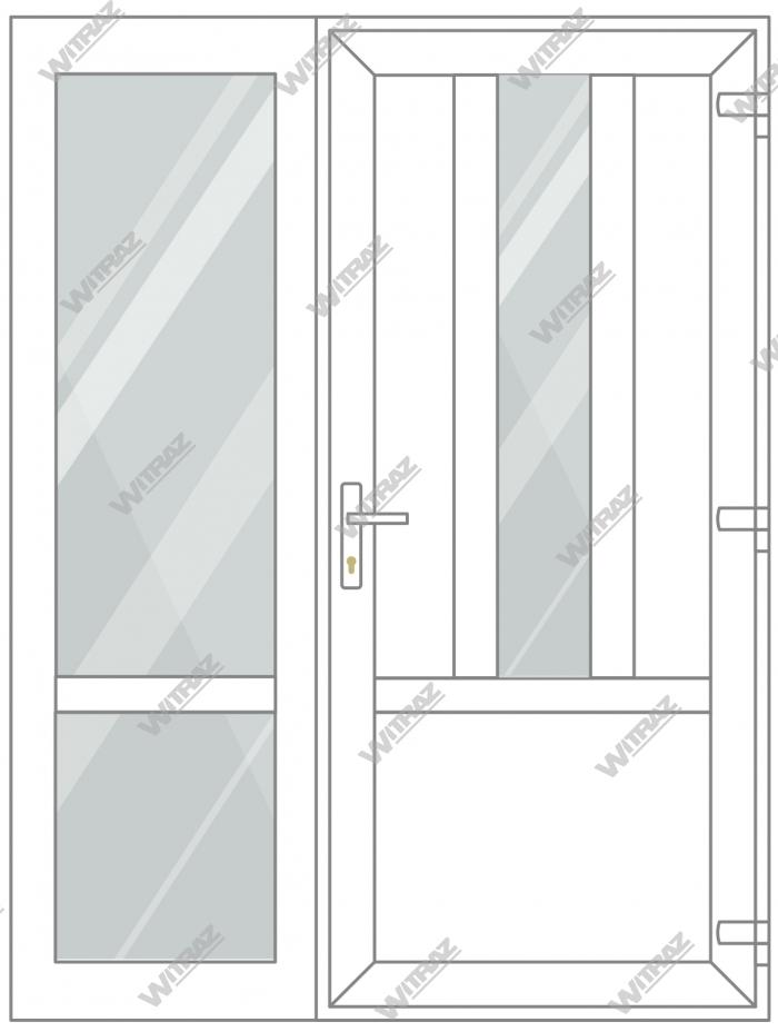 PVC entrance doors with side window - Door ((PVC + glass + PVC) + PVC)) + Side (glass + glass)
