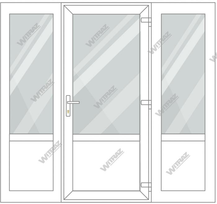 PVC entrance doors with 2 side windows - Door (glass + PVC) + 2 Sides (glass + PVC)