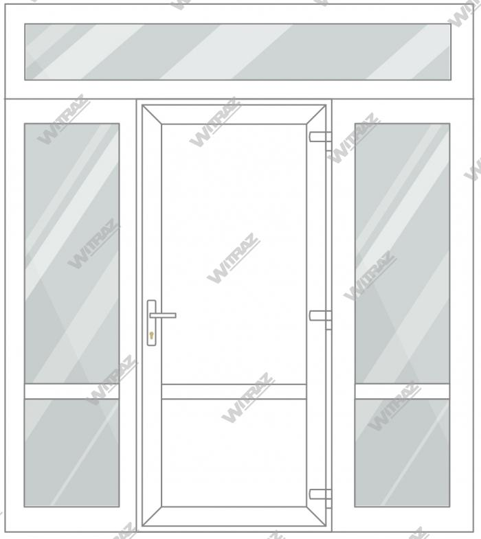 PVC entrance doors with 2 side and 1 top windows - Door (PVC + PVC) + 2 Sides (glass + glass) + Upper window (glass)