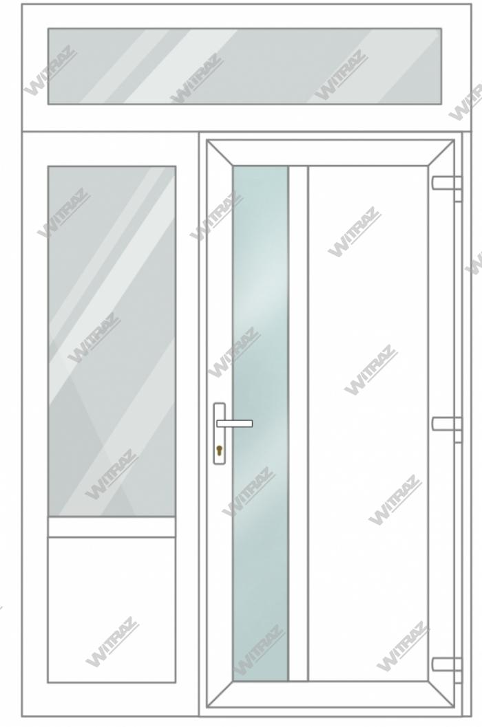 PVC entrance doors with 1 side and 1 top windows - Door (matte window + PVC) + Side (glass + PVC) + Upper window (glass)