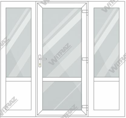 PVC entrance doors with 2 side windows - Door (glass + glass) + 2 Sides (glass + PVC)