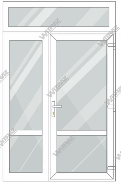 PVC entrance doors with 1 side and 1 top windows - Door (glass + glass) + Side (glass + glass) + Upper window (glass)