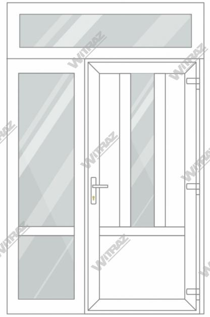 PVC entrance doors with 1 side and 1 top windows - Door ((PVC + glass + PVC) + PVC)) + Side (glass + glass) + Upper window (glass)