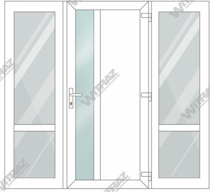 PVC entrance doors with 2 side windows - Door (matte glass + PVC) + 2 Sides (glass + glass)