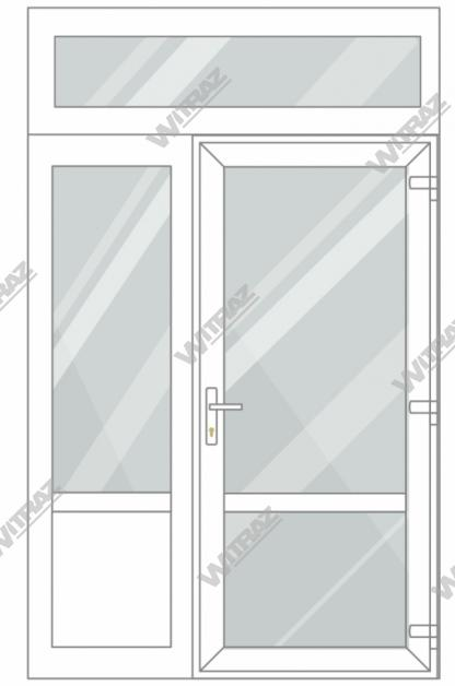 PVC entrance doors with 1 side and 1 top windows - Door (glass + glass) + Side (glass + PVC) + Upper window (glass)