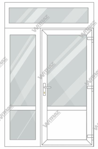 PVC entrance doors with 1 side and 1 top windows - Door (glass + PVC) + Side (glass + glass) + Upper window (glass)