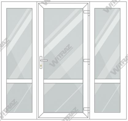 PVC entrance doors with 2 side windows - Door (glass + glass) + 2 Sides (glass + glass)