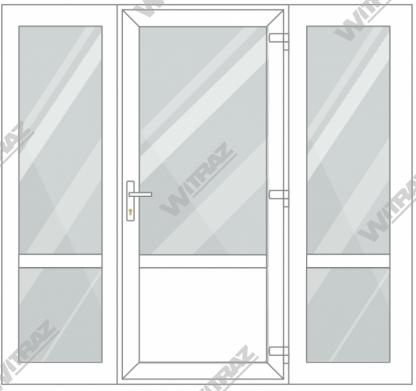 PVC entrance doors with 2 side windows - Door (glass + PVC) + 2 Sides (glass + glass)