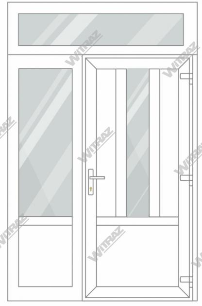 PVC entrance doors with 1 side and 1 top windows - Door ((PVC + glass + PVC) + PVC)) + Side (glass + PVC) + Upper window (glass)